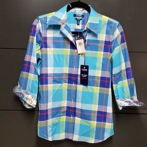 Chaps multicolor checkered tops size small NWT